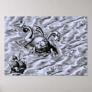 Carte bleue arctique du monde de monstre de mer et
