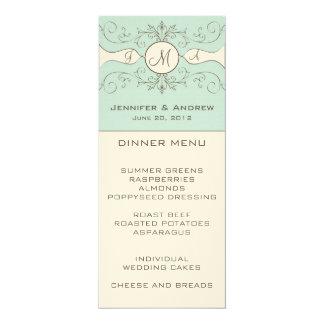 Carte bleue crème de menu de mariage de monogramme carton d'invitation  10,16 cm x 23,49 cm