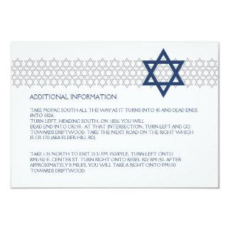 Carte bleue de clôture de Mitzvah de barre Carton D'invitation 8,89 Cm X 12,70 Cm