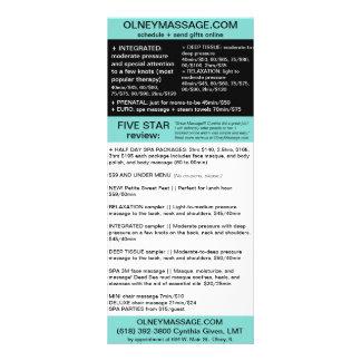 carte bleue de massage et de brochure de spa modèle de carte double