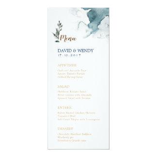 Carte bleue de menu de mariage du pays des