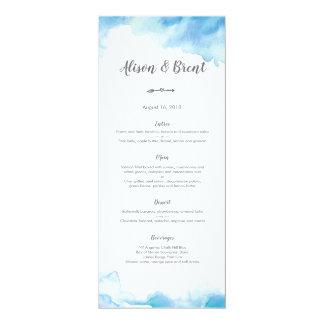 Carte bleue de menu ou de programme de mariage