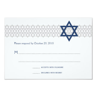 Carte bleue de Mitzvah RSVP de barre brillante Carton D'invitation 8,89 Cm X 12,70 Cm
