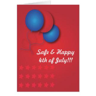 Carte bleue rouge de ballons 4 juillet