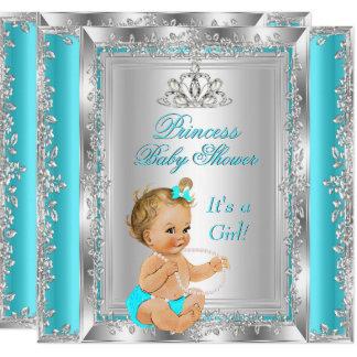 Carte Blonde argentée turquoise de partie de princesse