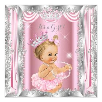 Carte Blonde de ballerine d'argent de rose de princesse