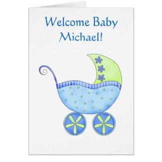 Carte Boguet bleu personnalisé par nom bienvenu de bébé