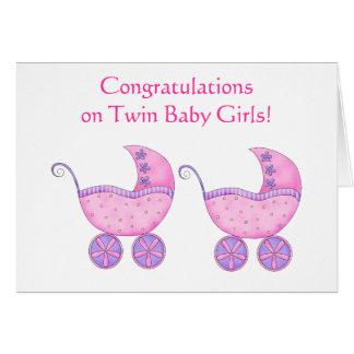 Carte Boguet jumeau de rose de bébés de félicitations