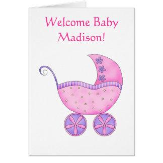 Carte Boguet rose personnalisé par nom bienvenu de bébé