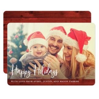 Carte Bois rouge rustique | bonnes fêtes avec la photo