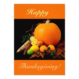 Carte Bon thanksgiving V avec le citrouille et le fruit