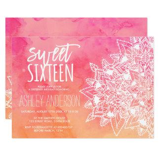 Carte Bonbon floral 16 à aquarelle de rose de mandala de