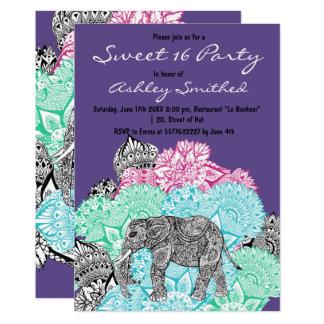 Carte Bonbon pourpre floral en pastel 16 à éléphant de