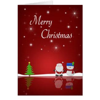 Carte Bonhomme de neige de Joyeux Noël et Père Noël -