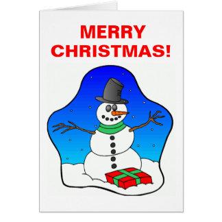 Carte Bonhomme de neige de Noël heureux