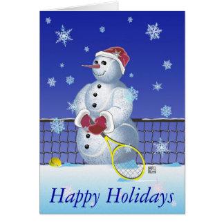 Carte Bonhomme de neige de tennis bonnes fêtes