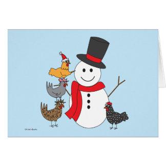 Carte Bonhomme de neige et poulets