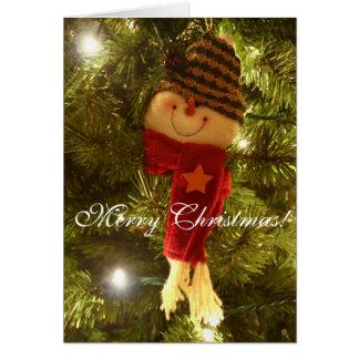 Carte Bonhomme de neige sur l'arbre, Joyeux Noël !