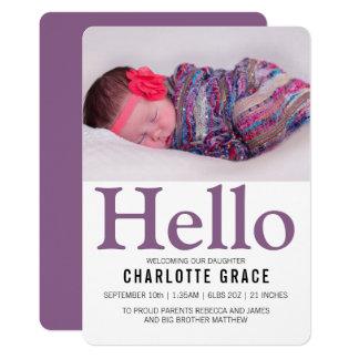 Carte Bonjour nouveau pourpre de bébé personnalisé