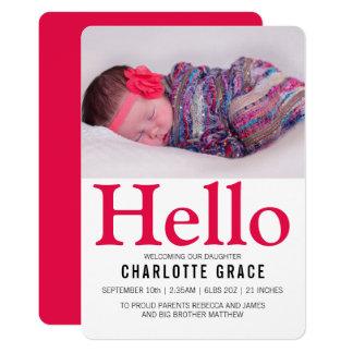 Carte Bonjour rose lumineux de nouveau bébé personnalisé