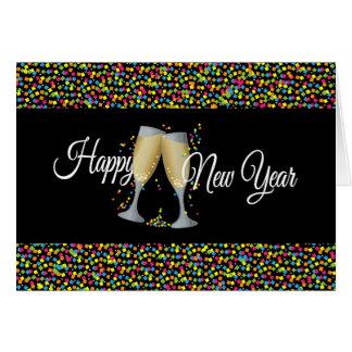 Carte Bonne année avec Champagne et confettis