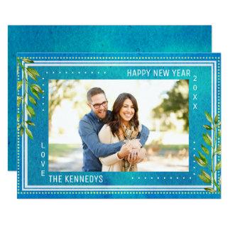 Carte Bonne année bleue d'aquarelle