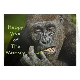 Carte Bonne année de l'astrologie de gorille de singe