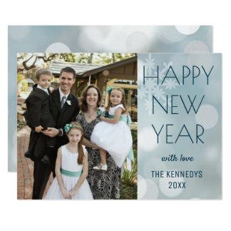 Carte Bonne année moderne de photo de famille