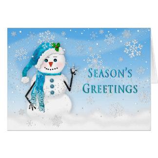 Carte Bonnes fêtes - bonhomme de neige - bleu