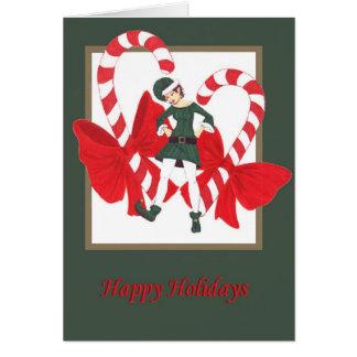 Carte bonnes fêtes elfe 1 de sucre de canne