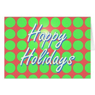 Carte Bonnes fêtes points rouges et verts