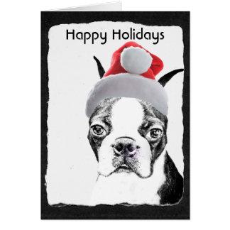 """Carte Boston Terrier """"bonnes fêtes """""""