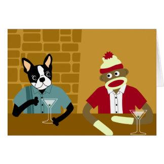 Carte Boston Terrier et singe de chaussette