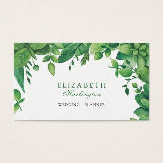 Carte botanique verte d'aquarelle. Verdure de