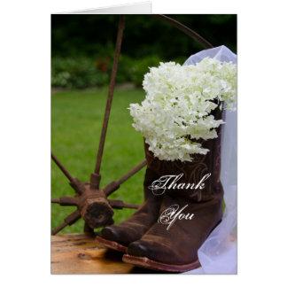 Carte Bottes de cowboy rustiques d'hortensia épousant le