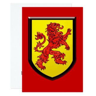 Carte Bouclier rouge de jaune de lion