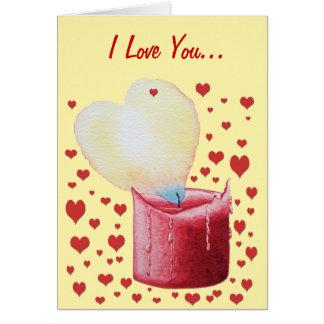Carte bougie rouge de flamme en forme de coeur peignant
