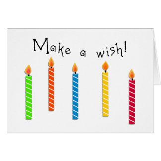 Carte Bougies colorées heureuses d'anniversaire de