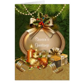 Carte Bougies et ornements élégants de Noël