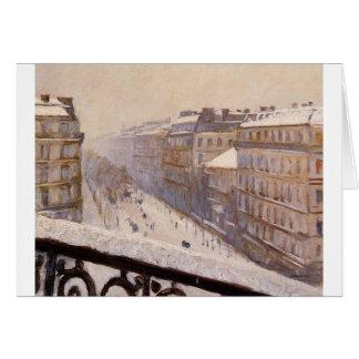 Carte Boulevard Haussmann dans la neige par Gustave