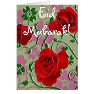 Carte Bouquet Eid Mubarak de roses rouges