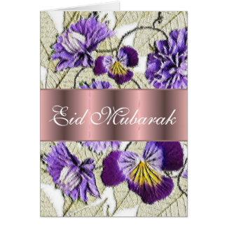 Carte Bouquet floral bleu Eid Mubarak