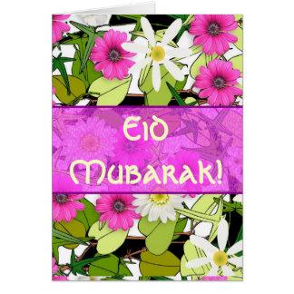 Carte Bouquet floral rose Eid Mubarak
