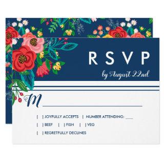 Carte Bouquet folklorique - Boho bleu RSVP