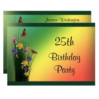 Carte Bouquet herbeux et anniversaire de papillons 25ème
