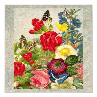 Carte Bouquet vintage de fleur avec des papillons