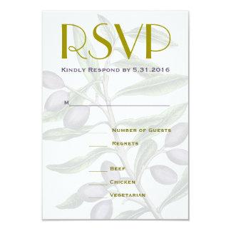 Carte Branche d'olivier épousant le pourpre vert de RSVP
