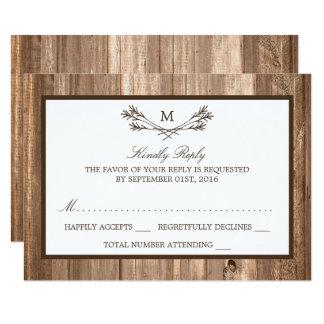 Carte Branche et bois rustiques de monogramme de pays