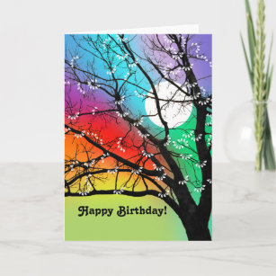 Carte Bright Colour Tree and Moon Birthday Card