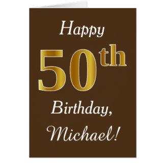 Carte Brown, anniversaire d'or de Faux cinquantième +